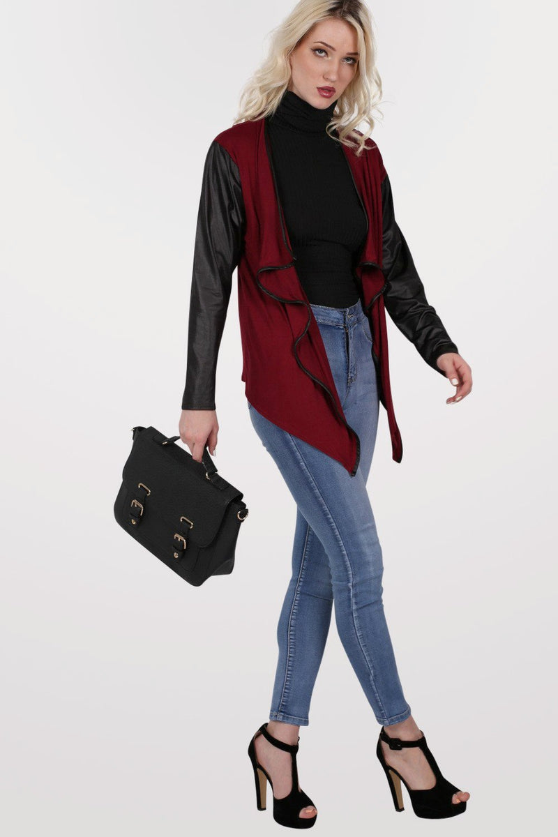 Contrast Wet Look Sleeve Open Jersey Cardigan in Burgundy Red 5