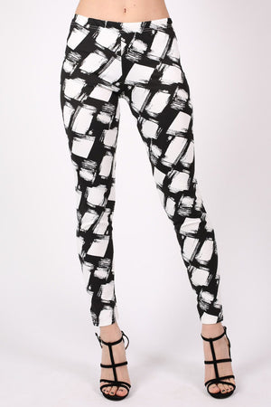 Abstract Check Print Leggings in Black MODEL FRONT 2