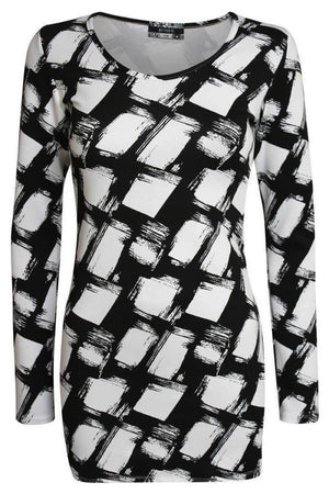 Abstract Check Print Long Sleeve Bodycon Dress in Black 2