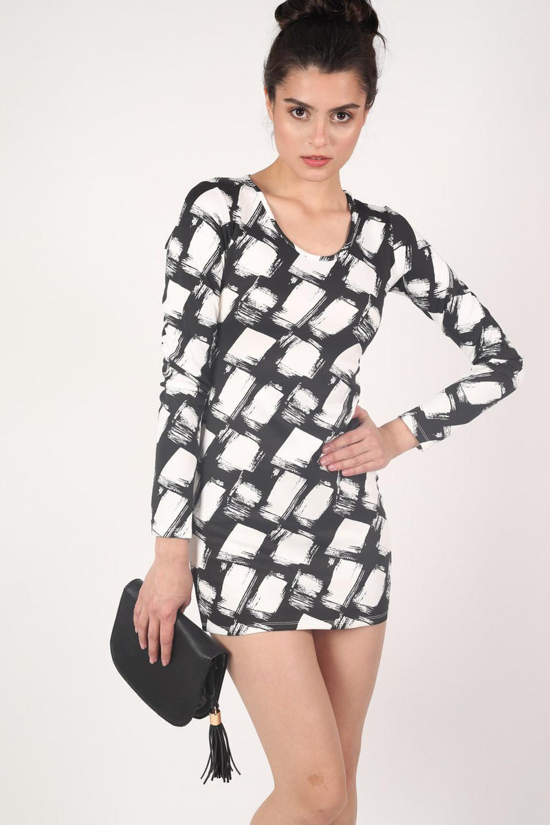 Abstract Check Print Long Sleeve Bodycon Dress in Black 1