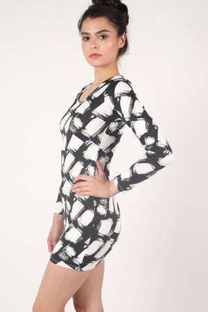 Abstract Check Print Long Sleeve Bodycon Dress in Black 3