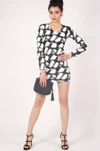 Abstract Check Print Long Sleeve Bodycon Dress in Black 5