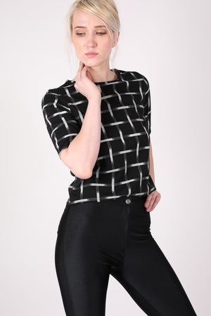 Grid Check Print Half Sleeve Boxy Crop Top in Black MODEL FRONT