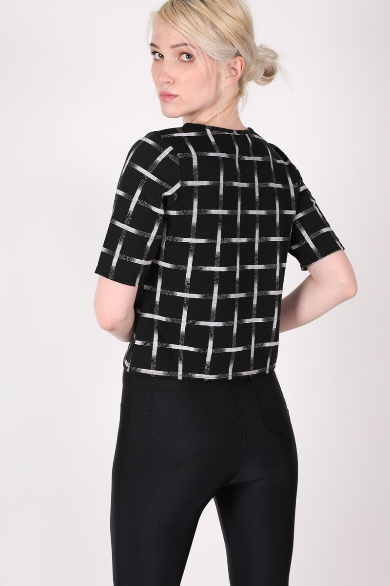 Grid Check Print Half Sleeve Boxy Crop Top in Black MODEL BACK