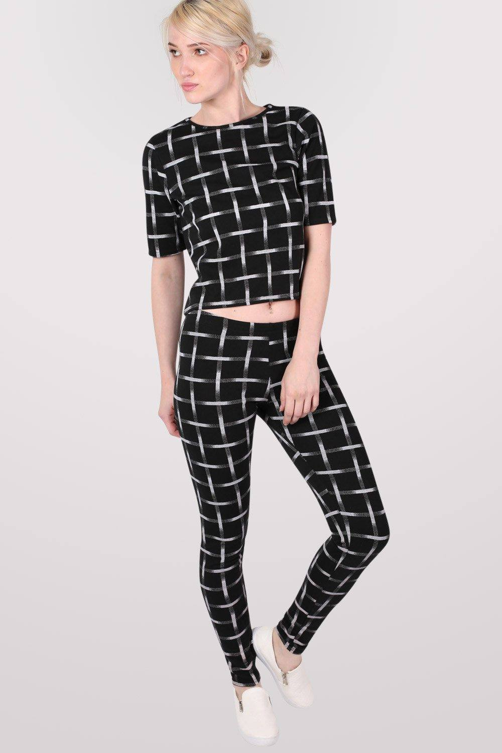 Grid Check Print Leggings in Black 0