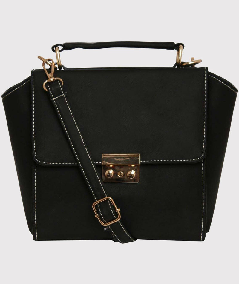Front Clasp Detail Winged Bag in Black 2