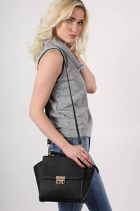 Front Clasp Detail Winged Bag in Black 0