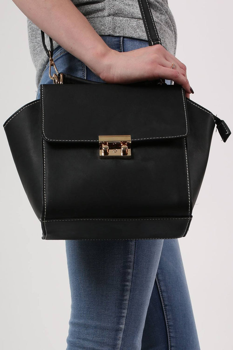 Front Clasp Detail Winged Bag in Black 1