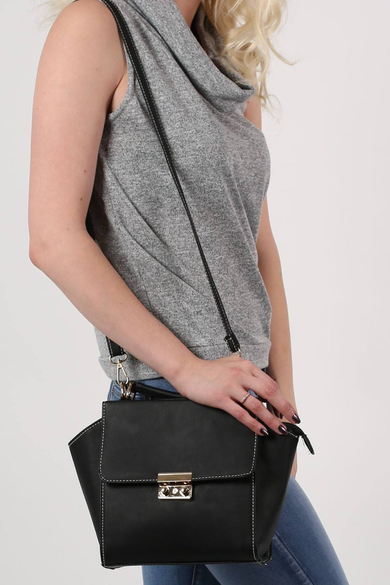 Front Clasp Detail Winged Bag in Black 4