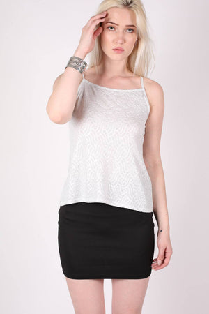 Textured Foil Flared Cami Top in Silver MODEL FRONT
