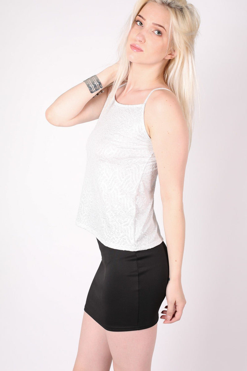 Textured Foil Flared Cami Top in Silver MODEL SIDE