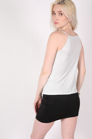 Textured Foil Flared Cami Top in Silver MODEL BACK