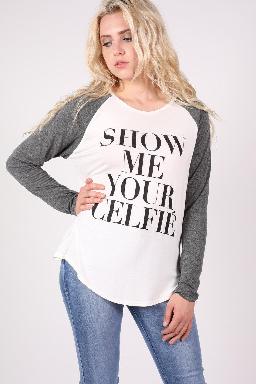 Dana 'Celfie' Slogan Raglan Sleeve Top in Grey MODEL FRONT