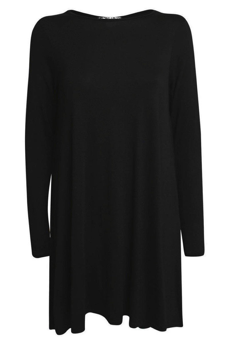 Plain Long Sleeve Swing Dress in Black 2