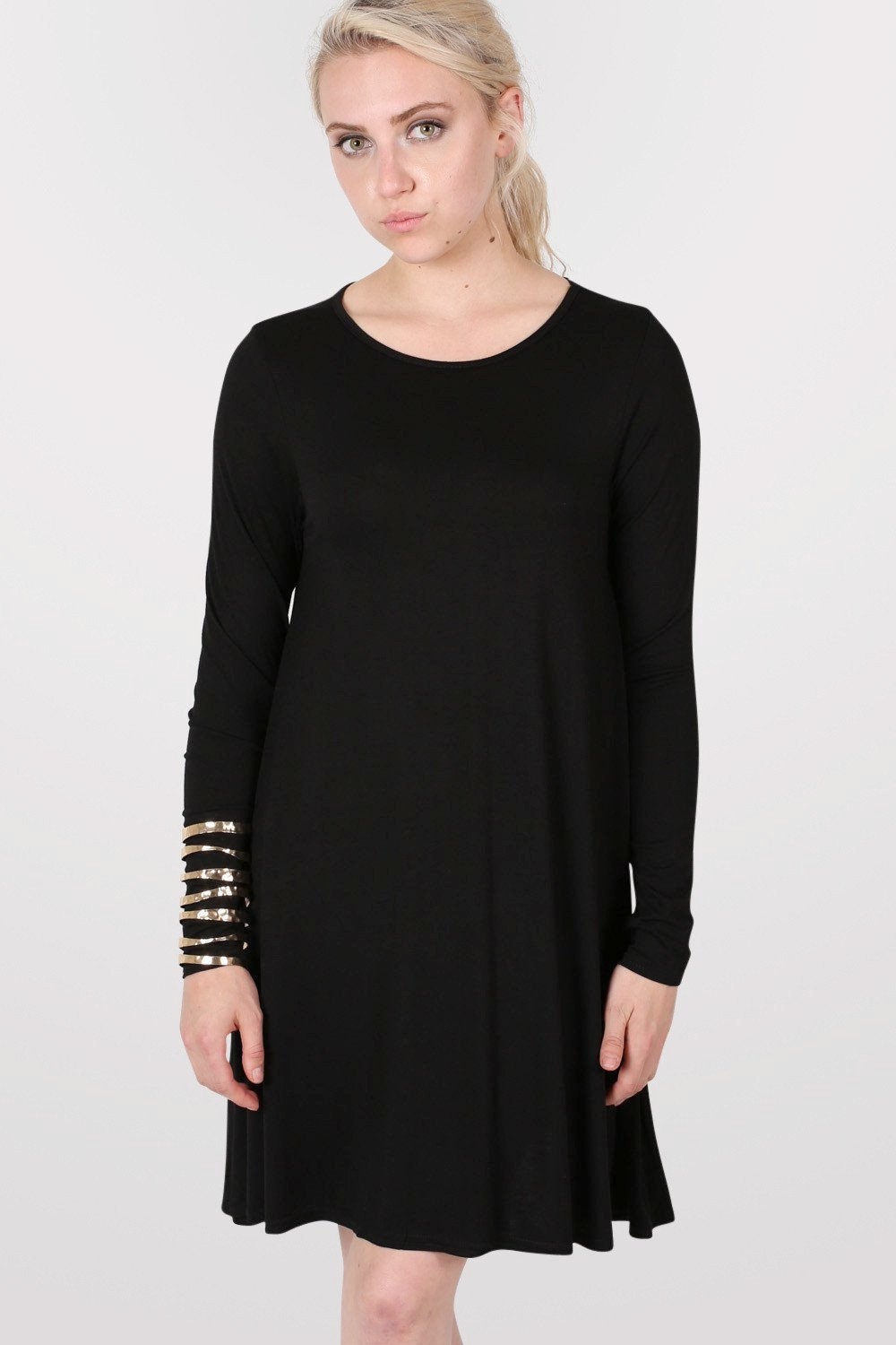 Plain Long Sleeve Swing Dress in Black 0