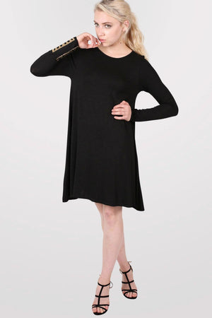Plain Long Sleeve Swing Dress in Black 1