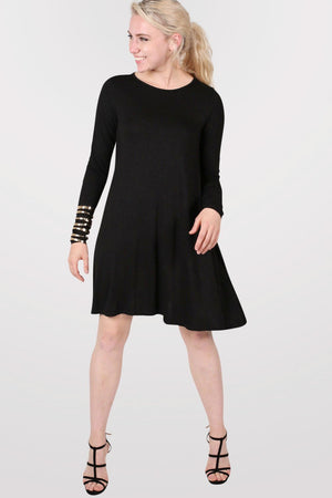 Plain Long Sleeve Swing Dress in Black 3