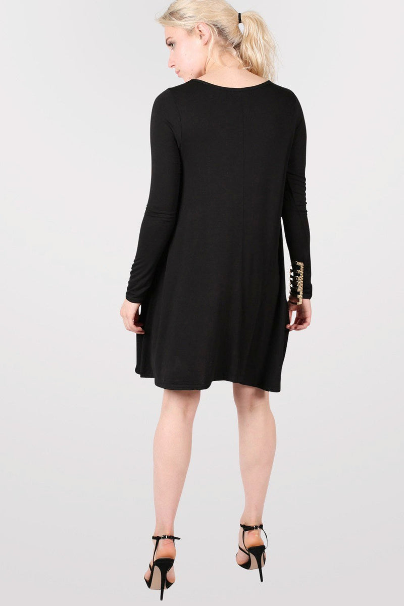 Plain Long Sleeve Swing Dress in Black 4
