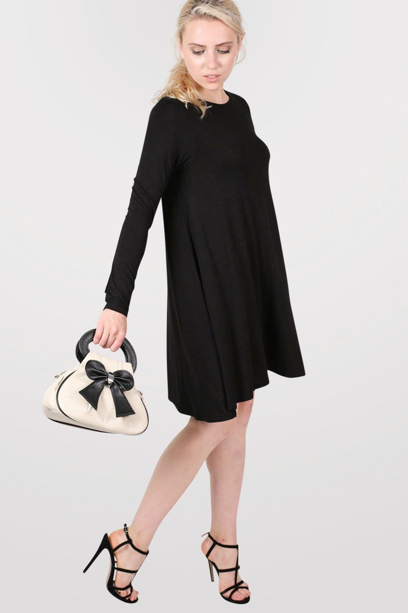 Plain Long Sleeve Swing Dress in Black 5