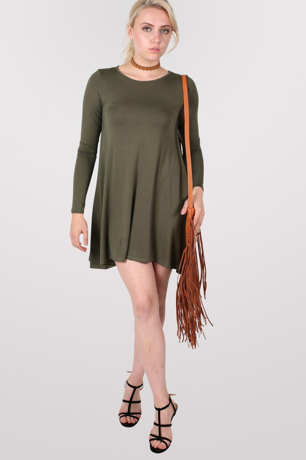 Plain Long Sleeve Swing Dress in Khaki Green 0