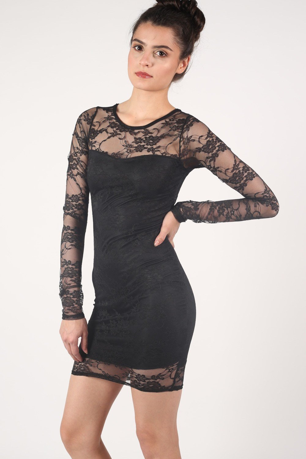Long Sleeve Lace Bodycon Dress in Black 0