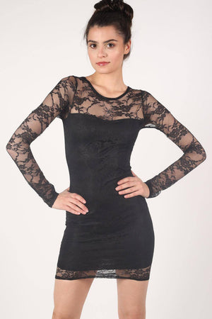 Long Sleeve Lace Bodycon Dress in Black 1