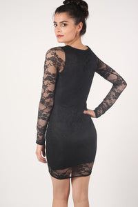 Long Sleeve Lace Bodycon Dress in Black 2