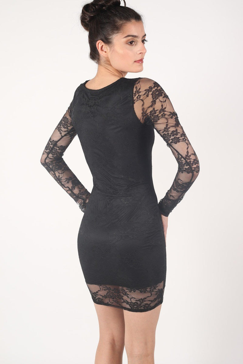 Long Sleeve Lace Bodycon Dress in Black 3