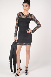 Long Sleeve Lace Bodycon Dress in Black 4