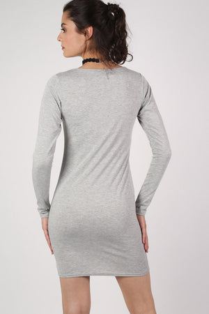 Plain Long Sleeve Bodycon Dress in Grey 3