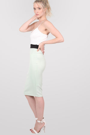 Strappy Contrast Bodycon Dress in Mint Green 1
