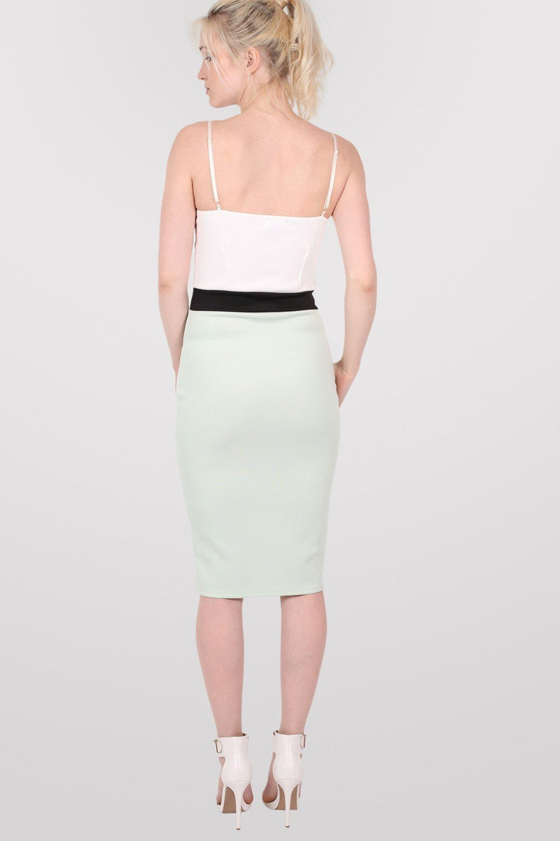 Strappy Contrast Bodycon Dress in Mint Green 3