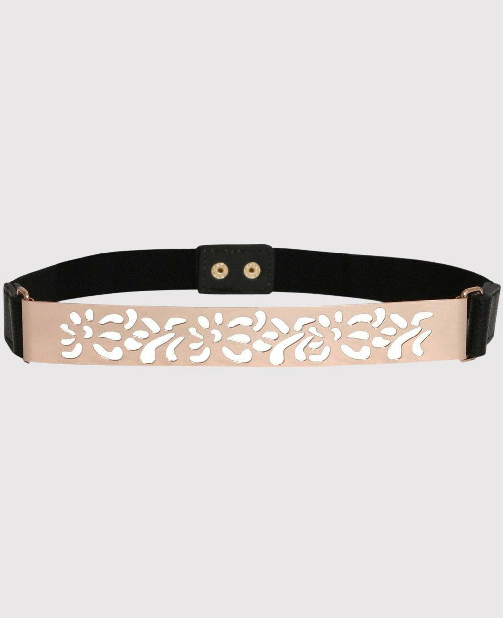 Cut Out Metal Plate Belt in Black FRONT