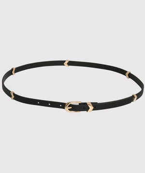 Metal Chevron Skinny Belt in Black 1