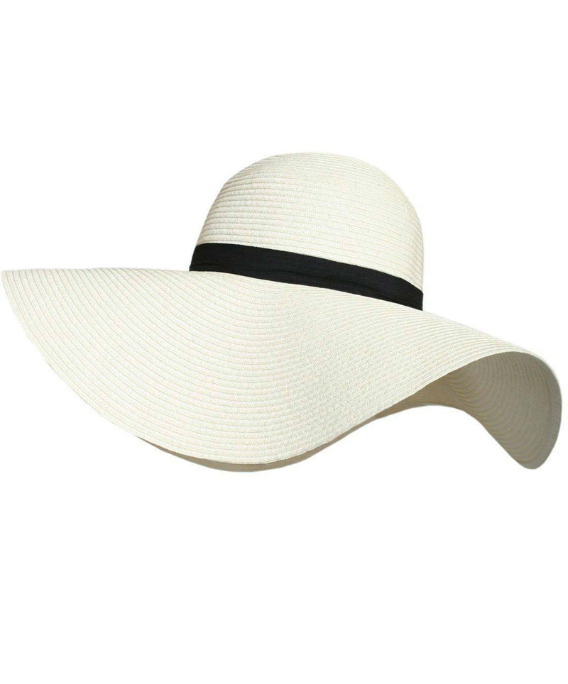 Wide Brim Straw Floppy Hat in Cream 2