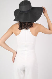 Wide Brim Straw Floppy Hat in Black 3