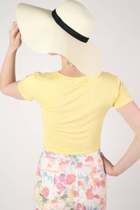 Wide Brim Straw Floppy Hat in Cream 1