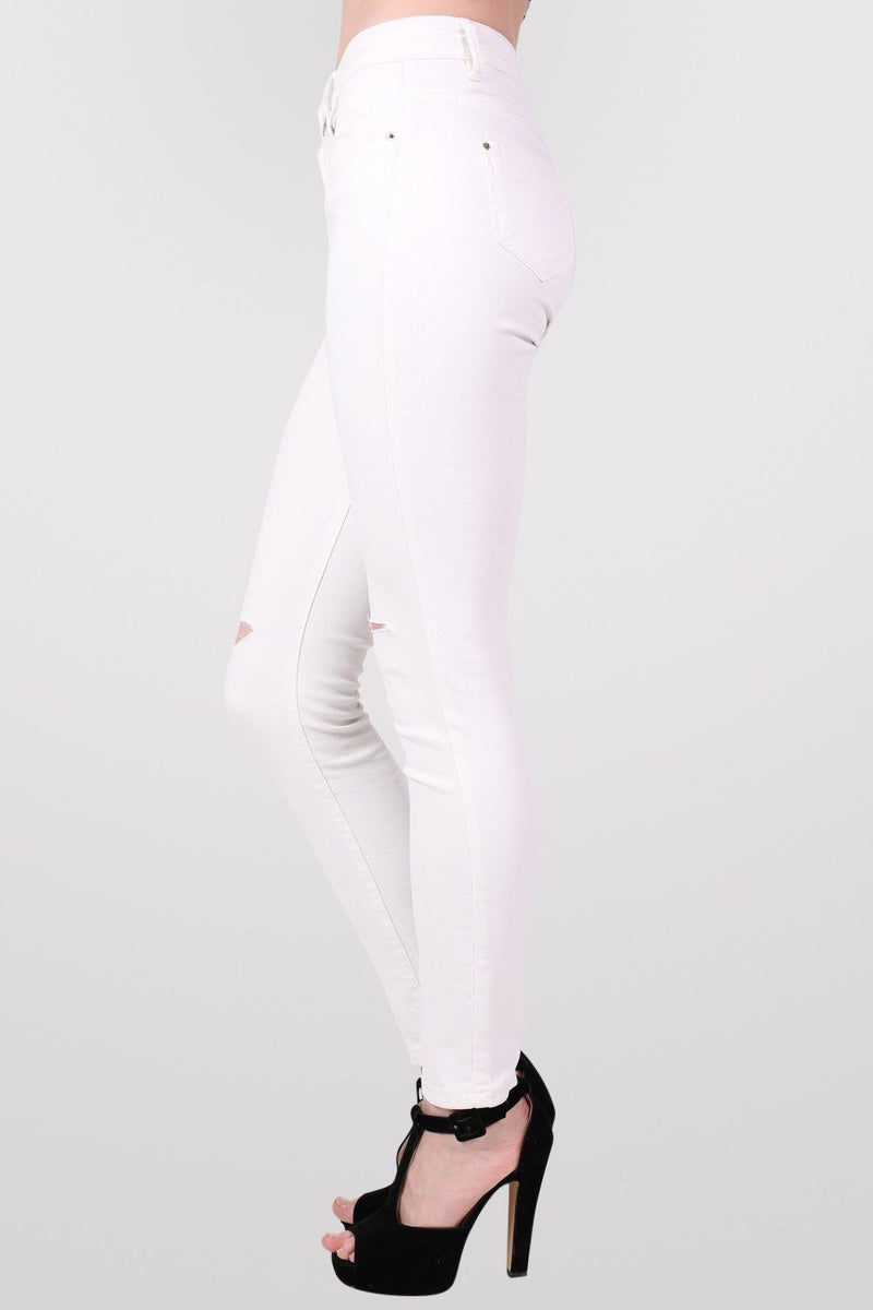 High Waist Ripped Knee Skinny Jeans in White 3