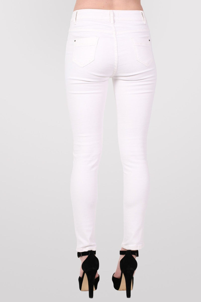 High Waist Ripped Knee Skinny Jeans in White 4