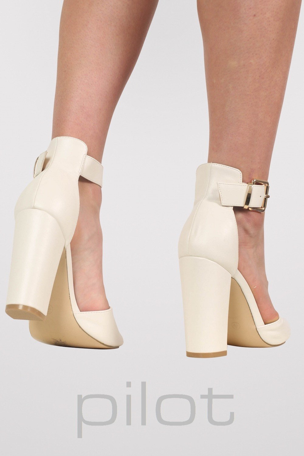 1253a5badeb Gold Plate Block Heel Sandals in White – PilotLondon.com