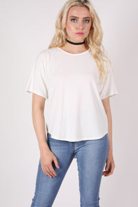 Dip Hem Oversized Top in Cream MODEL FRONT 2