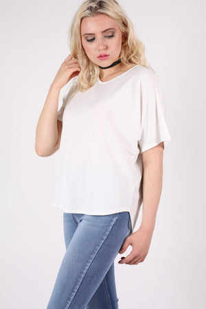 Dip Hem Oversized Top in Cream MODEL SIDE