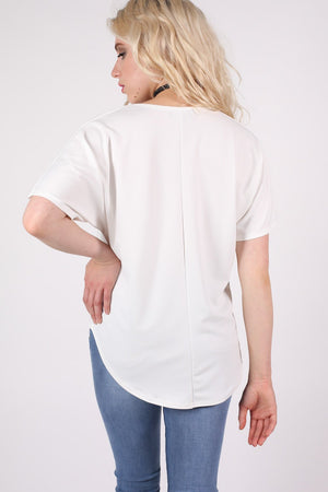 Dip Hem Oversized Top in Cream MODEL BACK