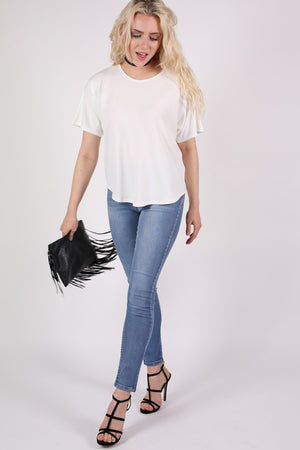 Dip Hem Oversized Top in Cream MODEL FRONT 3