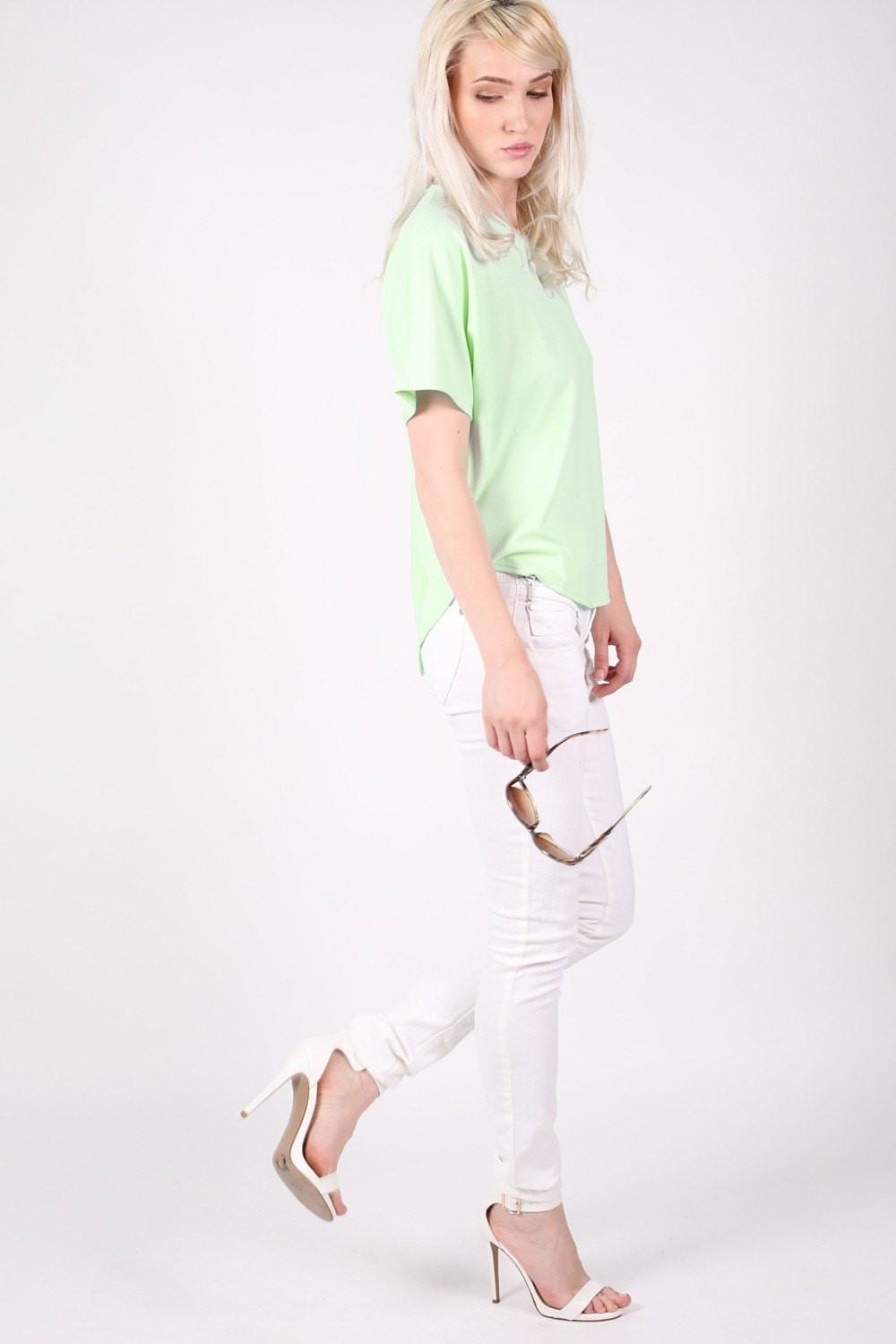 Dip Hem Oversized Top in Mint Green 0