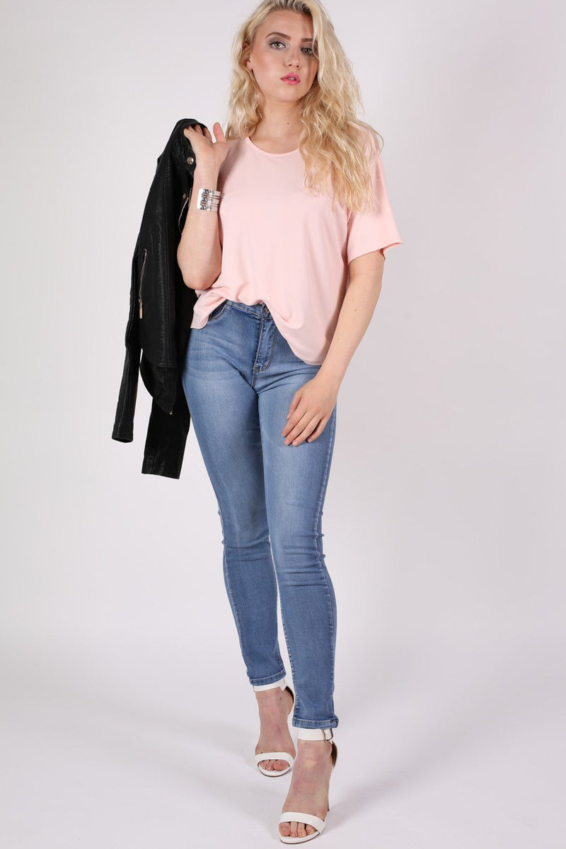 Dip Hem Oversized Top in Pale Pink MODEL FRONT 2