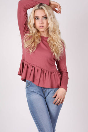Long Sleeve Frill Hem Top in Brick Red MODEL FRONT