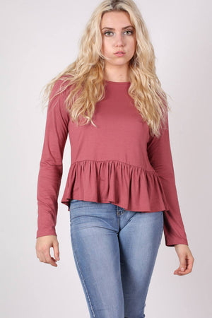 Long Sleeve Frill Hem Top in Brick Red MODEL FRONT 2