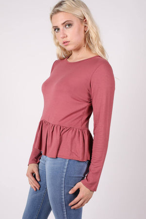Long Sleeve Frill Hem Top in Brick Red MODEL SIDE