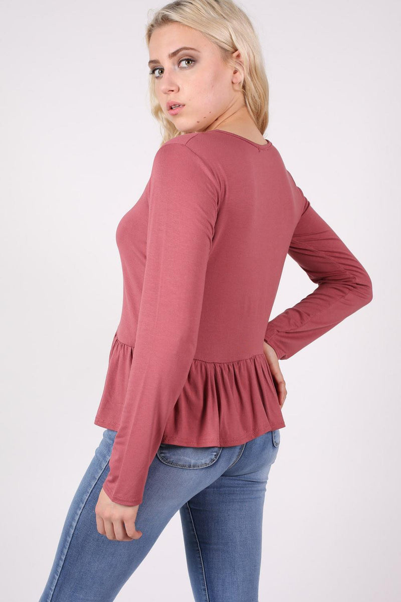 Long Sleeve Frill Hem Top in Brick Red MODEL BACK